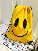 Wholesale Canvas Backpack For Fashion - Smile Face Emoji Drawstring Bags Yellow Color Cartoon Backpacks for Adult Children Fashion Travel Bags Wholesale Children Student Bags