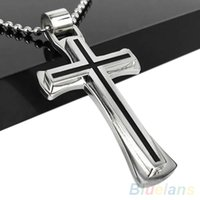 Wholesale Cool Chain Necklace Links - Wholesale-Men Women Cool Black Silver Stainless Steel Cross Pendant Chain Necklace 1QFM