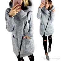 Wholesale Plus Size Upper Garments - 2017 sexy fashion Hot Sale Women's Upper Garments female Plush Hat Lapel slant Zip Fleece Hoodies & Sweatshirts plus size S-5XL