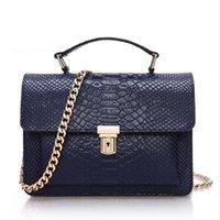 Wholesale Designer Brand Messenger Bags - GENUINE LEATHER SMALL SNAKESKIN CHAIN BAGS - Women's Designer Brand Handbags High Quality Ladies Shoulder Messenger Bags 2016