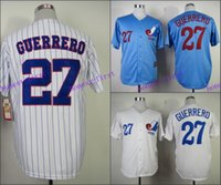 Wholesale Embroidery Jerseys - Montreal Expos Jersey 27 Vladimir Guerrero Jersey White Pinstrips Bule Cool Stitched Throwback Baseball Jersey Embroidery Logo