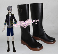 All'ingrosso-Black Butler Ciel Phantomhive ver nero con stivale marrone soli pattini cosplay stivali scarpa # HY092 Halloween