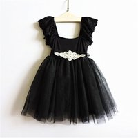 Wholesale Embroidered Dress Rhinestones - Christmas Party dresses new Girls black lace fly sleeve tulle tutu dress kids lace Rhinestone belt tulle dress chidren princess dress A9915