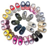 Wholesale Wholesale Lace Booties - Newborn Baby Boy Shoes Moccasins Soft Sole Baby First Walkers Toddlers Leather Infant Shoes Girls Kids Baby Booties Tassels Footwear
