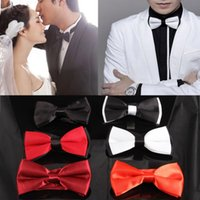 Wholesale Ascot Plain Colors - Wholesale-Fashion New Mens Tie Adjustable Plain Bow Tie Pre Tied Wedding Bow Tie For Evening Party 6 Colors Drop Shipping Tie-018