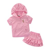 Wholesale Childrens Sportswear - 2016 Summer Girls Childrens Clothing Sets Hooded Short Sleeve Shirts Skirts 2 Set Sports Girl Kids Clothes Suit Sportswear Boutique Clothing