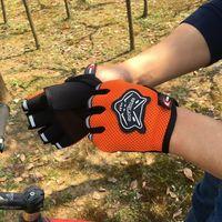 nylon motorrad handschuhe großhandel-Outdoor Motorrad Halbe Fingerhandschuhe Sport Mountainbike Radfahren Mesh Zyklus Handschuh Nylon Touch Finger Handschuhe