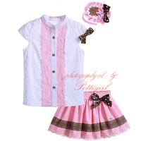 Wholesale Girls Mandarin Top - Pettigirl Lace Hem Boutique Girl Clothing Set With Headwear Mandarin Collar Single Breasted Tops Pink Skirt Kids Summer Wear G-DMCS905-786