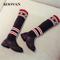 Wholesale Girls Leather Boots 37 - High Boots Socks Boots Big Size 26-37 Koovan plush Inside Winter Autumn Little Kids Shoes Soft Bottom Princess Shoes K509