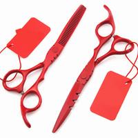 tesouras de cabeleireiro venda por atacado-Profissional 6 5.5 Polegada 440c Cabelo Tesoura Set Emagrecimento Barbeiro Cortes de Cabelo Tesoura Ferramentas Tesoura de Cabeleireiro