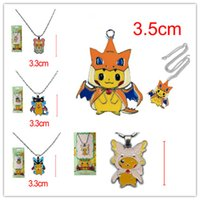 Wholesale Wholesale Epoxy Pendants - Poke Charizard neck chain 5styles pocket moster epoxy alloy pendant necklace poke go figures jewelry Xma gifts