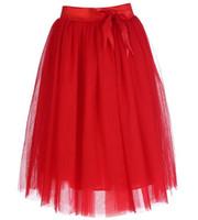 ingrosso vestiti di jupe-Gonna longuette in tulle rosso con cravatta a farfalla Lolita Ladies Gonne eleganti da cerimonia nuziale Jupe Zipper a vita alta Saia Clothes S M L XL XXL 4XL 5XL