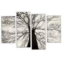Amosi Art-4 Pieces Modern Paintings Black and White Winter Tree Oil Painting Spray Pain Art Decoração de parede caseira com madeira emoldurada