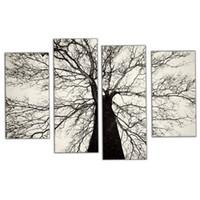 marcos negros para pinturas al óleo al por mayor-Amosi Art-4 Piezas Pinturas modernas Blanco y negro Árbol de invierno Pintura al óleo Aerosol Dolor Arte Hogar Decoración de la pared con marco de madera