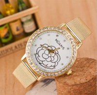 Wholesale Gold Flowered Watch - New gold rhinestone belt watch rose flower printed watch fashion quartz watch women wristwatch Luxury watched