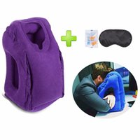 Atacado- 2017 Mais populares Travel Pillow Neck Chin Head Support Inflável Travel Cushion Travesseiro Avião Office Car Sleeping