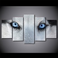 5 Pcs / Set Framed HD Impresso Lobo Blue Eyes Canvas Poster Picture Decoração para casa Decorative Wall Art Oil Painting