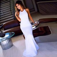 Wholesale Designer Bandage Dresses - Simple Designer Mermaid Halter Sexy Backless White Prom Dresses Sleeveless Floor-Length Evening Dresses vestido de festa longo maxi dress