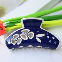 Wholesale Clamps Bride - Wholesale-9cm Trendy Hair Comb Clamp Tiara Bride Wedding Hair Accessories Acrylic Brand Letter Hair Claw for wedding Clip Ponytail Holder