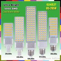 Wholesale 13w G24 - E27 G24 led bulbs 5W 7W 9W 11W 13W LED Lamp Bulb SMD 5050 corn Spotlight 180 Degree AC85-265V Horizontal Plug Light