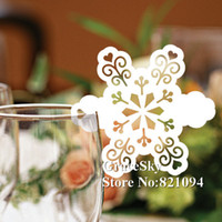 Wholesale Snowflake Decoration Wholesale - 60pcs lot Free Shipping Laser Cutting Snowflake Paper Wine Glass Place Seat Name Card Butterfly Shaped for Paper Christmas Party Decorations
