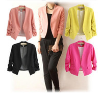 Wholesale Candy Colored Blazers - Wholesale Spring Women suit 2016 Europe and America new female candy colored round neck suit jacket Jacket + Free Shipping