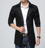 длинный вытяжной колпак для мужчин оптовых-New Style Mens Trench Coat Fashion Single Breasted Removable Hooded Slim Long Trench Coat Men Casual Mens Long Coat With A Hood