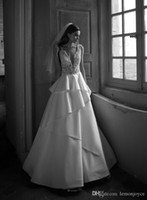 Wholesale Custom Made Alencon Lace Gown - Deep V-Neck Wedding Dresses A line Sheer Back Floor Length Stretch Satin Tiers Alencon Lace Cascading Ruffles wedding dresses Bridal Gowns
