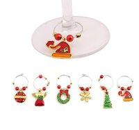 Wholesale Metal Table Feet - 1Set Christmas Wine Glass Decoration Charms Party New Year Cup ring Table Decorations Xmas Pendants Metal Ring Decor EJ879967