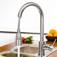 Wholesale 16 quot Pull Out Swivel Spray spout Kitchen Sink Faucet Brushed Nickel One Handle