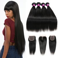 bakire saç ürünleri toptan satış-Siyusi Saç Ürünleri İnsan Saç Perulu Hint Malezya Brezilyalı Bakire Düz Saç Kapatma Ile 3 4 Demetleri