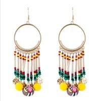 Euramerican Colorful Resin Beads Empalme Exagerado Pendientes Multicolor Bohemia Chandelier Mujeres Tassles Individuality Ring Earrings