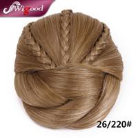 Wholesale Hair Braiding Hairstyles - Wholesale-1PC 50G Postiche Chignon Hairstyle Fake Hair Bun Pieces Braids Clip In Hair Bun Extensions Postiche Cheveux Chignon Wigood