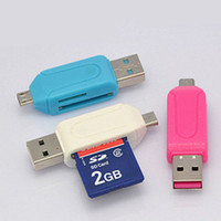 продажа карт памяти sd оптовых-Wholesale-High Quality Hot Sale OTG Mini USB Micro SD Memory Card Reader for Android PC Cellphone 2in1 Hot Sale