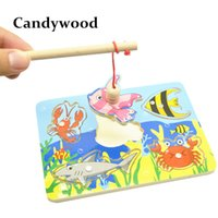 Wholesale Wooden Fishing Game - Kids Wooden Toys Educational Learning Wood Fishing Game Small Magnetic Puzzle Table Farm Brinquedo Fish Toys For Children