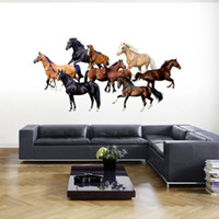 televisión moderna de fondo al por mayor-Venta al por mayor nuevo moderno fondo de pantalla 3D caballo de lujo dormitorio creativo salón TV fondo pegatinas de pared envío gratis