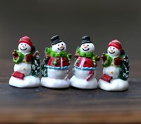 Wholesale Christmas Ornament Craft Wholesale - 30PCS Free Shipping Resin Snowman Figurine Craft Garden Decoration Ornament Miniature Plant Pot Micro Landscape Bonsai DIY Christmas