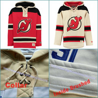 Wholesale Quality Ice Cream - Top Quality S-3XL Red Cream Customized Mens New Jersey Devils Custom Hockey Hoodie Stitched Old Time Authentic Jersey Hoodies Sweatshirt