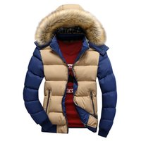 Wholesale Overcoat Hats - Fall-Hot fashion 2016 Contrast Color Mens Winter Jackets Casual Thick Cotton Coat Hat Detachable Patchwork Warm Overcoat MXG0093
