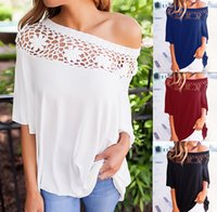 Wholesale women one shoulder top blouse - Autumn Women Casual One Shoulder Blouse Lady Lace Flowers Pattern Embroidered Slash Neck 1 2 Sleeve Loose Top