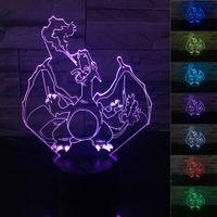 Wholesale Best Nightlight - Cute Pikachu Charizard 3D Illusion Nightlight poke go fire red night light LED toy 7Colors Change Xmas best gift for Kids Bedroom Lighting