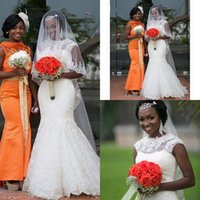Wholesale Brautkleid Sexy - Brautkleid High Neck Lace Mermaid African Wedding Dresses 2017 Appliques Beaded Vintage Bridal Gowns Vestido De Noiva