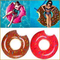 ringbojen aufblasbar großhandel-120 cm 90 cm Erwachsene / Kinder Aufblasbare Schwimmring Boje Donut Form Schwimmbad Wasser Float Floß Schwimmringe Aufblasbare Schwimmrunden
