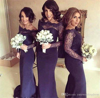 Wholesale Top Quality Satin Mermaid - 2017 Dark Navy Mermaid Bridesmaid Dresses Cheap Off Shoulder Long Illusion Sleeves Lace Top Quality Party Dress Long Prom Evening Dresses