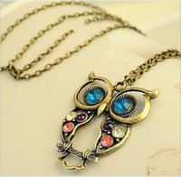 Wholesale Drilled Big Crystal - New vintage Embedded drill Hollow carved Owl Pendant Necklace New Girl's Fashion Jewellry Silver Vintage Lovely Big Eyes Owl Charms
