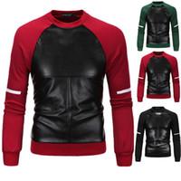 Wholesale Leather Jacket Plus Velvet - 3XL Hoodies Men Autumn Pullover Patchwork Coat For Men Slim Leather Hoodies Cross Design Men Plus Velvet Sweatshirt Jacket J161024