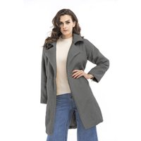 Wholesale Wholesale Wool Jackets - Women's Clothing 2017 Winter Fashion Casual Blouse Outerwear Coats Wool Blends Jackets for Black Gray Beige Green Ladies Tops Parka S-X 0407