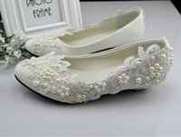 Wholesale Beaded Flat Dress Shoes - Free Shipping White Wedding Shoes Princess Crystal Pearl Wedding Dress Bride Shoes Bridemaid Shoes Manmade White Lace Shoes Low heel US Size