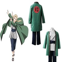 Wholesale Tsunade Naruto Cosplay Costume - HOT Japanese Anime Tsunade Naruto Green Ninja Cosplay Costume For Unisex Halloween Party Adults Full Set