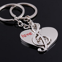 Wholesale Couple Music - Free shipping 200pcs lot Cute Heart Notes Couples keychain Alloy Key Keychain Lover wedding favours music note key chain sets giveaways